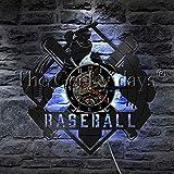 fdgdfgd Reloj de Pared Multicolor 3D de Jugador de béisbol Batter LED Reloj de Pared con Disco de Vinilo Ligero año Nuevo