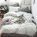MooMee Bedding Duvet Cover Set 100% Washed Cotton Linen Like Bedding Textured Breathable Durable...