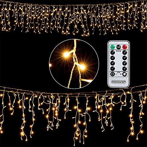 Deuba Regenlichterkette 200 LED I warm-weiß I inkl Fernbedienung I 8 Leuchtmodi I Timer I Dimmbar I In- & Outdoor I Regenkette Lichterkette