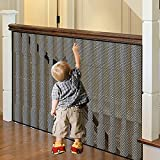 JIFTOK Baby Gate for Stairs, Banister Guard for Kids, Pets, Toys, 10ft L x 2.66 ft H, Mesh Netting Safety Net for Balcony Rail Stair, Stairway Net Baby Safety Products for Indoor & Outdoor (Black)