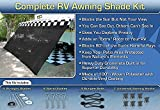 EZ Travel Collection RV Awning Shade Complete Kit 8'x20' (Black)