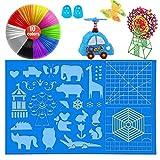 ZTTXL 3D Pen mat, 1 Large 3D Printing Pen Pads with Pattern, 3D Pens Filament with 10 Colors and 2 Finger Protectors