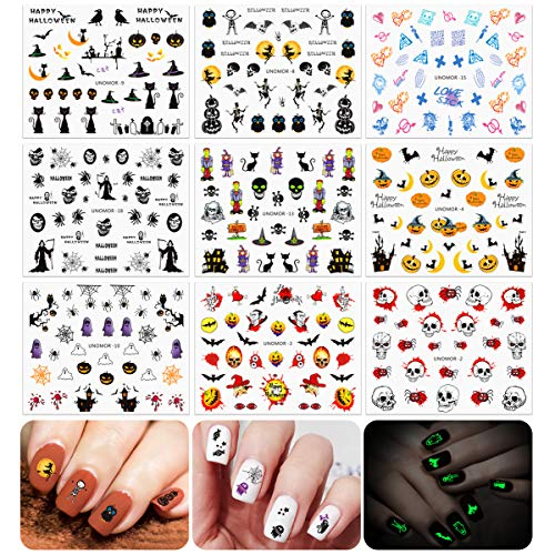 Halloween Nails Decals Stickers, 30 Sheets Multi-Color Mixed Styles Ghost Spiders Pumpkin Witches Nail Art Decals (Luminous Styles Included)