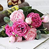 GTUQ Flores Decorativas Artificiales 5 Jefe Falsa Artificial Flores de Rose...
