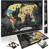 Wond3rland Carte du Monde à Gratter Deluxe + Carte de l'Europe BONUS avec les Pays Décrits|...