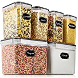 Airtight Food Storage Containers - Wildone Cereal & Dry Food Storage Container Set of 6(Black Lid), Leak-proof & BPA Free, With 1 Measuring Cup & 20 Chalkboard Labels & 1 Chalk Marker