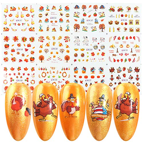 12 Sheets Fall Nail Stickers Water Transfer Nail Art Decals Thanksgiving Maple Leaves Pumpkin Turkey Autumn Nail Art Stickers Acrylic Nails Design Supply Manicure Tips Charms Accessories