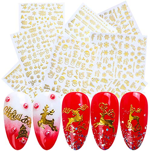 9 Sheets 3D Christmas Nail Art Decals Gold Self-Adhesive Nail Stickers Winter New Year Nail Art Decoration Santa Claus Tree Snowflake Deer Snowman Nail Design Sticker for Christmas Party Supplies