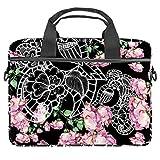 Wild Flowers - Bolsa para portátil de 13,4 a 14 pulgadas, multifuncional, maletín portátil, correa ajustable para el hombro