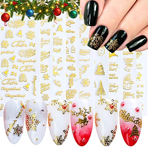 IDALL Christmas Holiday Nail Art Adhesive Stickers - 9 Sheets 3D GOLD Metallic Nail Decorations, Manicure DIY Nail Decals, Snowflakes Santa Claus Snowmen Elk Art Design Nail Decorations