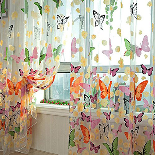 HMANE 1X2M Sheer Voile Butterfly Pattern Shade Curtain Offset...