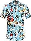 SSLR Camisa Playera Estilo Hawaiana Tropical Estampado Navideño Manga Corta para Hombre (XX-Large, Azul)