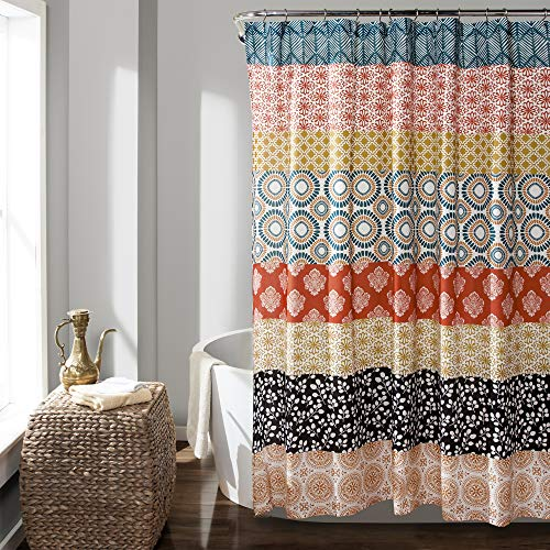Lush Decor 16T000209 Bohemian Striped Shower Curtain Colorful Bold...