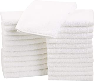 AmazonBasics Fast Drying, Extra Absorbent, Terry Cotton Washcloths, White – Pack of 24