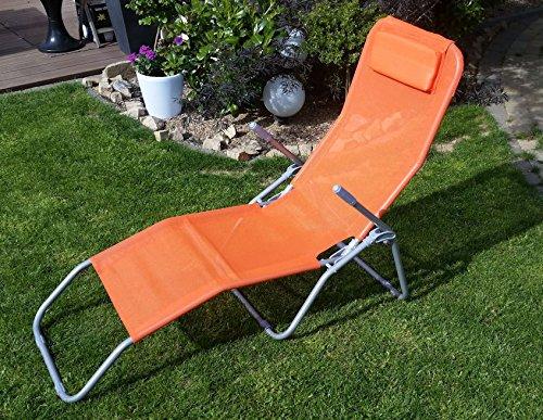 Spetebo Gesundheitsliege in ORANGE - Bequeme Relaxliege mit klappbarem Fußteil