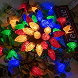 AWQ 50LED 49 FT C9 Christmas String Lights Plug in Fairy Twinkle String Lights 8 Modes Timer Function Waterproof Extendable for Indoor Outdoor Wedding Party Christmas Decoration (50, Multicolor)