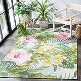 Safavieh Barbados Collection BAR516X Tropical Floral Indoor/ Outdoor Area Rug, 4' x 6', Green/Pink