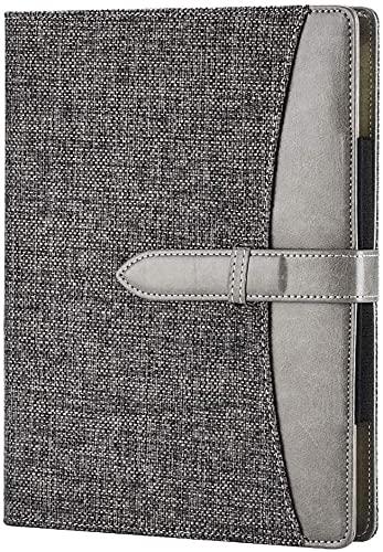 Agenda A5 de piel, apta recambio, diario, cuaderno de viaje, de redacción, de negocios, agenda con bolsillo, cuaderno de conferencias, agenda de 240 páginas gruesas., color Lino gris