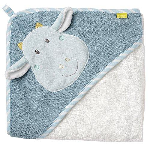 Fehn 065190 Kapuzenbadetuch Drache / Bade-Poncho aus Baumwolle mit Drachen Motiv für Babys und Kleinkinder ab 0+ Monaten / Maße: 80x80cm