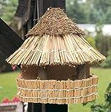Vogelfutterhaus mit Reetdach und Heidekappe, Heidehütte zum Aufhängen, Wandmontage
