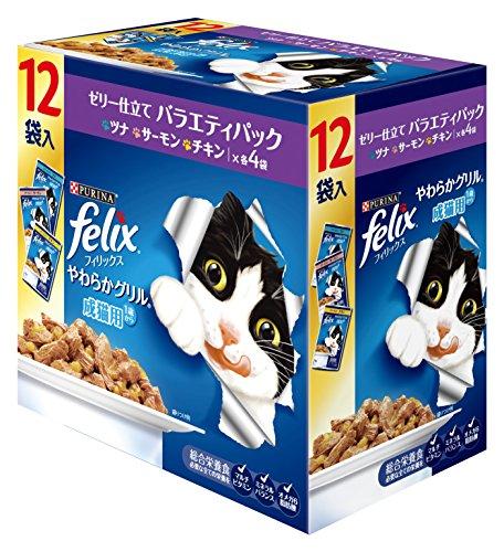 フィリックス やわらかグリル 成猫用 ゼリー仕立て バラエティ(ツナ・チキン・サーモン) 840g(70gx12袋入り)