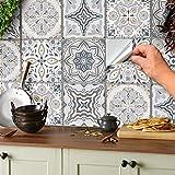 24 Stickers muraux gris et blancs autocollants de carreaux adhésifs carrés plats de...