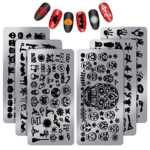 6 Pieces Halloween Nail Stamp Plates Nail Stamping Templates Skull Ghost Bat Spiderweb Pattern Nail Plates for DIY Nail Art Decoration