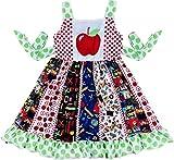 Boutique Toddler Girls Back to School Polka Dots Apple Panel Dress Green/Multi 5/L
