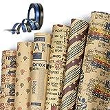 Papier Kraft Papier Cadeau, Jolintek 6 Feuilles de Papier d'emballage Cadeau et...