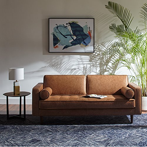"Amazon Brand – Rivet Aiden Mid-Century Modern Tufted Loveseat Sofa (74"") - Cognac Leather"