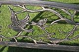 metallgartenbank mit detaillierter rueckenlehne voegel