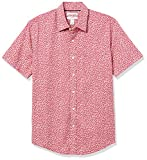 Amazon Essentials Slim-Fit Short-Sleeve Casual Poplin Shirt Button-Down, Washed Red Small Roses, M