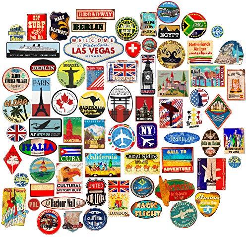 85x Bagage Autocollants valises étiquettes de Voyage Vintage rétro...