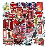 WOKAO Cabina de teléfono de autobús Rojo Londres Pegatina Pegatinas PVC Graffiti calcomanía para Maleta Equipaje Guitarra portátil Juguetes para niños 50 Piezas