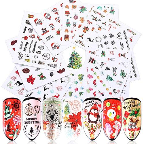 Christmas Nail Art Stickers 3D Xmas Design Nail Decals Self-Adhesive Winter Holiday Nail Sticker Snowman Deer Tree Snowflake Nail Art Stickers for Women Girls Kids DIY Christmas Nail Decor (11 Sheets)