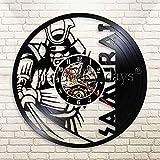 YHZSML Vintage féroce Japonais samouraï Disque Vinyle Horloge Murale...