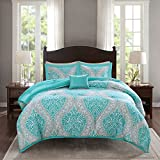 Comfort Spaces Comforter Set Ultra Soft Printed Pattern Hypoallergenic Bedding, Full/Queen(90'x90'), Coco Teal Damask