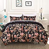 3 Pieces Comforter Set Queen Reversible Floral Leaf Printed Black Bedding Solid Comforter with 2 Pillow Shams, All Season Down Alternative Quilted Comforter Set, Soft Microfiber Duvet Set 90'x 90'