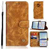 Teepo Galaxy S9 Case, Samsung S9 Leather Case, GalaxyS9 Clamshell Wallet/Wrist Strap/Magnetic Buckle/Credit Card Slot Bracket/Bracket Function for Samsung Galaxy S9 (Brown)