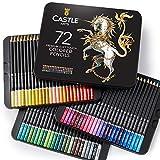Castle Art Supplies juego de 72 lápices de colores para libros de colorear o útiles escolares para adultos y niños. Serie de calidad y con minas de colores vibrantes