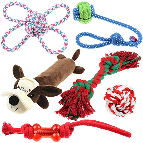 Well Love Dog Toys – Chew Toys – 100% cotone naturale corda – Squeak Toys – Palline Dog –...