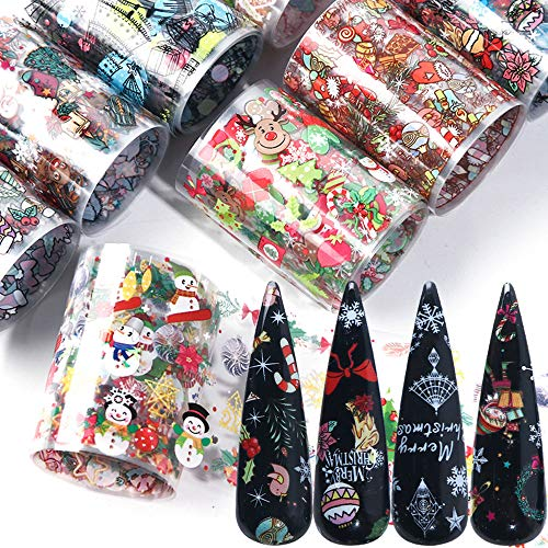 Christmas Nail Foil Transfers Stickers New Year Nail Art Foils 10 Rolls Winter Snowman Snowflake Christmas Tree Sugar Deer Decals for Christmas Party Supplies Manicure Tips Wraps Decoration Designs