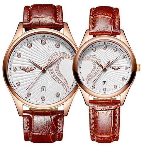 Couple Watches Leather Pair Watches Men Women Waterproof Analog Quartz Watch Set for Her or His Gift Set (Heart White)