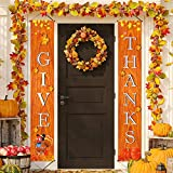 FECEDY GIVE THANKS Hanging Banner Porch Sign Autumn Pumpkin Maple Leaf Backdrop Flag Fall Harvest Welcome Banner For Home Yard Indoor Outdoor Wall Door Thanksgiving Party Decorations 72'x12'