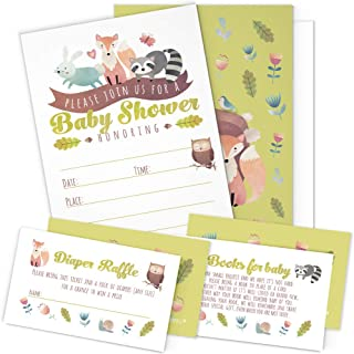 A Set of 25 Woodland Animals Baby Shower Invitations, Diaper Raffle Tickets and Baby..