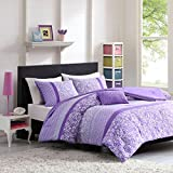 Mi Zone Riley Comforter Set Twin/Twin XL Size - Purple, Floral – 3 Piece Bed Sets – Ultra Soft Microfiber Teen Bedding for Girls Bedroom