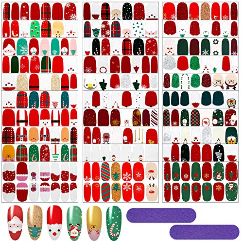 30 Sheet Christmas Nail Wraps Full Wrap Nail Stickers Christmas Nail Polish Wraps Christmas Nail Polish Stickers and 2 Pieces Nail Files for Nail Art Women Girls Christmas Birthday Party