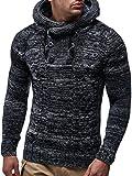 LEIF NELSON Gilet tricot col large, Ch - Gris foncé - Taille Medium