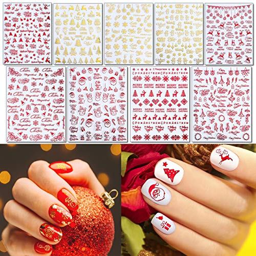 TailaiMei Christmas Metallic Nail Art Stickers, Glittering Self-Adhesive Xmas Tree Santa Snowman Snowflake Decals for Women Girls Kids Manicure DIY or Nail Salon (Metallic Red/Gold)