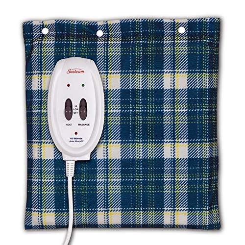 Sunbeam Heating and Massage Pad for Pain Relief | Small Flexi-Soft, 2 Heat & 2 Massage Settings with Auto-Off | Blue Plaid, 12-Inch x 12-Inch